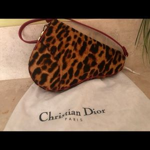 Authentic Dior Leopard Print Pony Hair Saddle